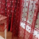 Adorable RED EMBROIDERY COLOR Curtain Living room Bedroom Use