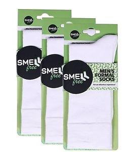 Smell Free Organic Bamboo Men's Formal Socks (White) - Pack of 3 Free Ship