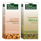 Indus Valley 100% Organic Combo Pack of Almond Oil & Olive Oil with Cold pressed