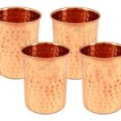 Handicraftscart  Pure Copper Hammered Tumblers Glasses Set of 4 Capacity 350 ML