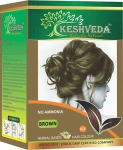 BROWN HAIR COLOR 120 GM BY KESHVEDA NO AMONIA PURE HERBAL FREE SHIP