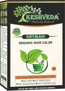 SOFT BLACK HAIR COLOR POWDER-NO CHEMICAL PURE HERBAL BY KESHVEDA FREE SHIP