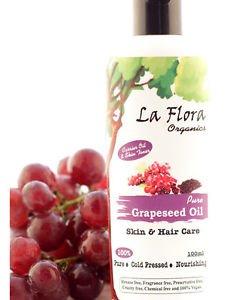 La Flora Organics Pure Grapeseed Oil Skin & Hair Care - 100 ml Cold Pressed