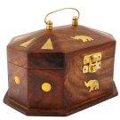 Handmade Wooden Jewellery Box for Women Jewel Organizer Elephant Décor, 6 Inches