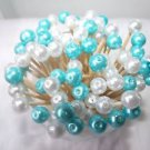 35 Turquoise Blue White Pearl Bead Toothpicks Wedding Dinner Party Picks Teal