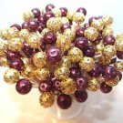 Graduation Party Gold Maroon Burgundy Pearl Beads Toothpicks Wedding Dinner Pick