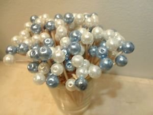 35 White Blue Pearl Bead Toothpicks Wedding Dinner Party Picks Baby Boy Shower