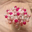 Toothpicks Fuchsia Pink Glass Pearl Wedding Baby Girl Shower Picks Quinceañera