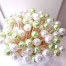 35 Lime Green Pearl Toothpicks Bead Wedding Party Food Picks Cocktail Skewers