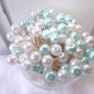 35 Aqua Pearl Toothpicks Beach Christmas Wedding Shower Party Picks Seashell Mix