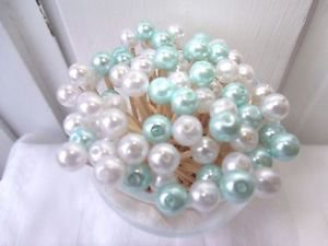 35 Aqua Pearl Toothpicks Beach Christmas Wedding Shower Party Picks Seashell Mix