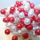 35 Red White Pearl Party Toothpicks Pick Shower Dinner Valentines Day Wedding