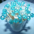 50 Crystal Aqua Turquoise Toothpicks Beach Wedding Party Pick Planning Events