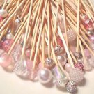Pearl Crystal Pink Skewers Wedding Dessert Toothpicks Party Food Pick Dinner