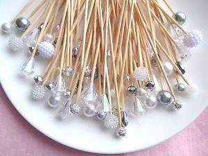 Pearl Crystal Silver Skewer Wedding Dessert Toothpick Party Food Pick Dinner