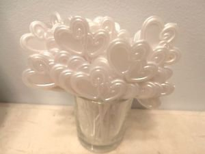 White Valentines Day Wedding Double Heart Plastic Toothpicks Cupcakes Cakes Pick