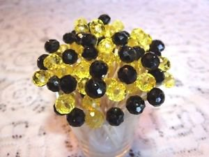 Crystal Black Yellow Preakness Graduation Wedding Toothpicks Party Food Picks