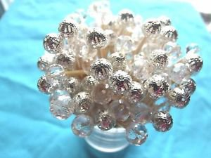 35 Crystal Silver Bead Toothpick Wedding Anniversary Shower Dinner Party Pick