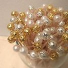 35 Wedding Toothpicks Gold Silver Pearl Beads  Favors Pick Dinner Party Planning