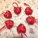 MINI Red Valentines Day Hearts Ornaments Crafts Wedding Shabby Chic Glitter
