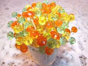 35 Crystal Mothers Day Spring Wedding Toothpicks Orange Yellow Green Party Pick