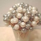 WEDDING TOOTHPICKS Gray Silver White Pearl Bead Graduation Party Cocktail Food