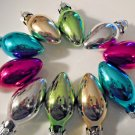 10 Mini Glass Light Bulb Lights Christmas Ornaments Feather Tree Gold Pink Blue