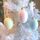 3 Glass Eggs Christmas Tree Ornaments Shabby Pink Aqua Blue Yellow Glitter HP