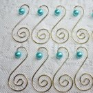 8 Turquoise Pearl Gold Ornament Tree Hooks Hangers Scroll Shabby Chic