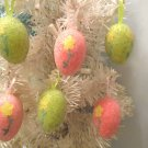 6 Easter Eggs Tree Ornaments Crafts Flowers Beaded Rose Pink Lime Green Set Lot