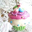 Cupcake Resin Christmas Ornament Feather Tree Green Birthday Cake Candy Shabby