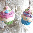 Mini Cupcakes Resin Birthday Ornaments Gift Tags Feather Candy Cakes Sweets Xmas