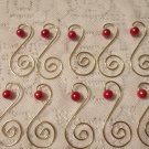 10 Red Pearl Bead Gold Ornament Tree Hooks Hangers Scroll Fancy