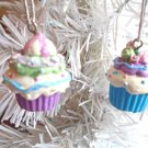 Mini Cupcakes Resin Birthday Ornaments Gift Tags Blue Cakes Sweets Xmas