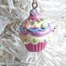 Birthday Mini Cupcake Resin Christmas Ornament Feather Tree Pink Cake Candy