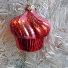 Red Pink Cupcake Glass Christmas Ornament Tree  Birthday Cake Candy Shabby