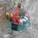 Light Blue Pink Cupcake Glass Christmas Ornament Tree Birthday Cake Candy Shabby
