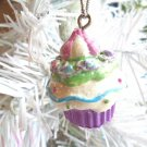 Cupcake Resin Christmas Ornament Feather Tree Purple Birthday Cake Candy Shabby
