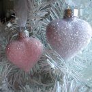Shabby Pink Glass Hearts Ornaments Tree Hand-Painted Valentine Day Christmas
