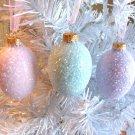 3 Glass Eggs Christmas Tree Ornaments Shabby Pink Lavender Aqua Blue Glitter HP