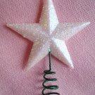 Mini White Mica Glitter Star Topper Christmas Feather Tree Miniature Dollhouse