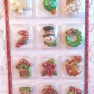 Resin Christmas Mini Ornament Feather Tree Ball Candy Cane Wreath Santa Gift Tag