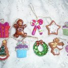 Resin Christmas Mini Ornaments Feather Tree Gingerbread Star Candy Cane Wreath