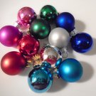 12 Mini Glass Balls Christmas Miniature Ornaments Feather Tree Pink Blue Red