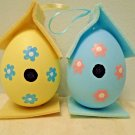 4in Yellow Blue Egg Birdhouse Easter Ornments Tree Shabby Chic Flower Wood Bird
