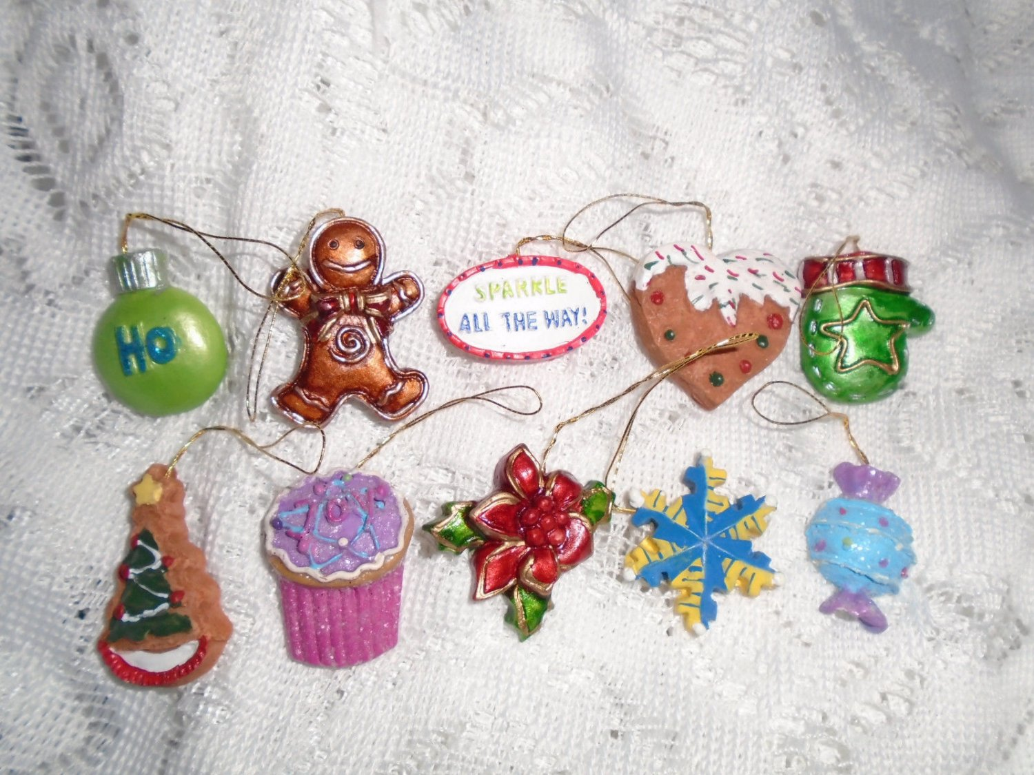 Resin Christmas Mini Ornaments Feather Tree Gingerbread