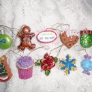Resin Christmas Mini Ornaments Feather Tree Gingerbread Boot Candy Cane Ball