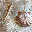 2 Metal Seashell Gold Christmas Ornaments Tree Spiral Scallop Clam Coastal Shell