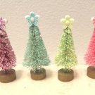 Pastel Bottle Brush Easter Christmas Trees Dollhouse Miniatures Sisal Pink Aqua