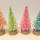 4 THIN MINI Bottle Brush Trees Dollhouse Miniatures Pink Blue Orange Christmas